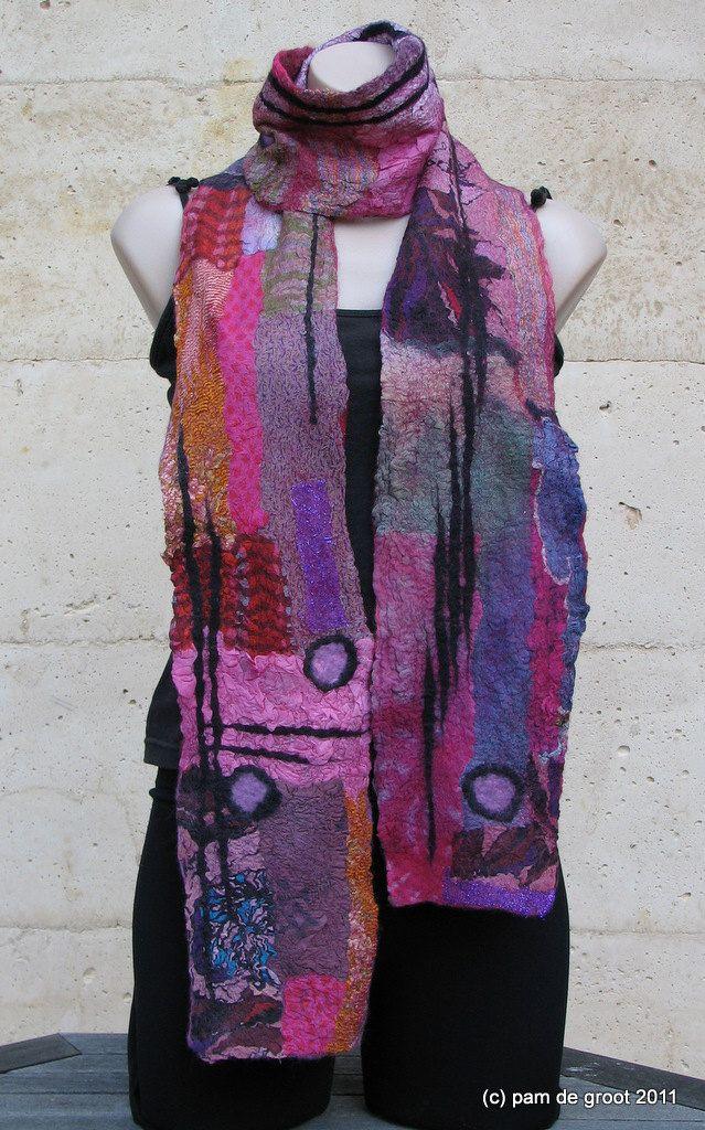 Pink Purple nuno scarf Pam De Groot