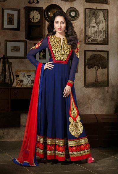 USD 107.78 Shraddha Kapoor Purple Faux Georgette Long Anarkali Suit 31772