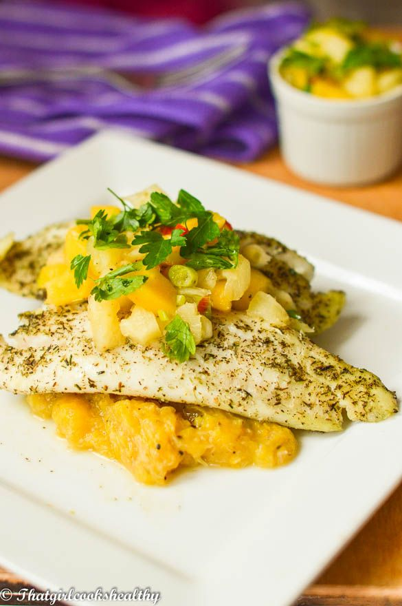 Baked tilapia with mango pineapple salsa  http://thatgirlcookshealthy.com/baked-tilapia-with-mango-pineapple-salsa-caribbean-style