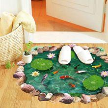 1x60*90 cm Étanche Anti-slip Lotus Goldfish Motif DIY 3D Stickers Muraux Salle De Bains Salon Décalcomanies étage Décor À La Maison(China (Mainland))
