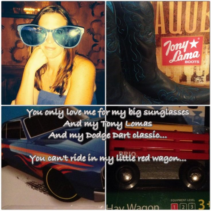 Seeing Miranda in concert in Cincinnati in July inspired my birthday present from my boyfriend last fall. To go along with my favorite Miranda song off her new album it included big sunglasses, a Dodge dart classic and a little red wagon with the main gift - my first pair of black Tony Lamas!