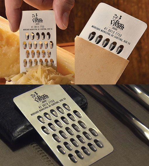 Functional Metal Business Card - it's business card sized but it really does work as a cheese grater! Designed for a specialist cheese shop this card was so popular the shop had to put limits on how many and how often clients could take the cards