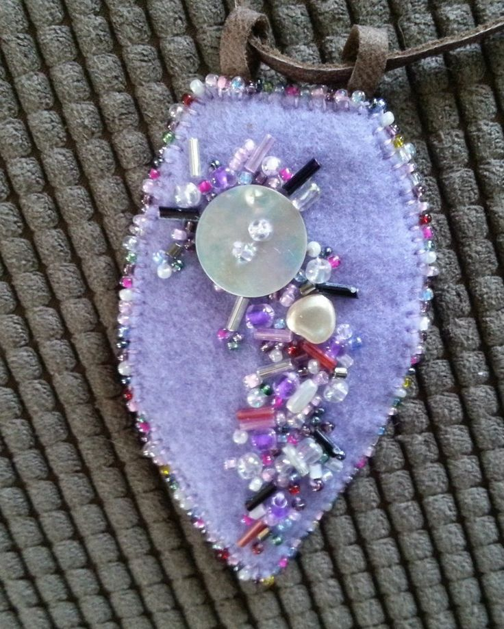 Handmade felt necklace with buttons and seed beads