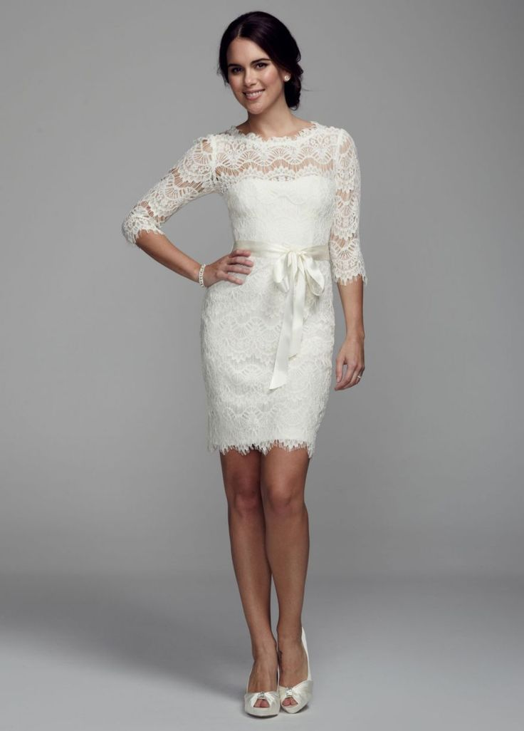 Short lace dress with 3 4 sleeves david 39 s bridal for 3 4 sleeve wedding guest dress
