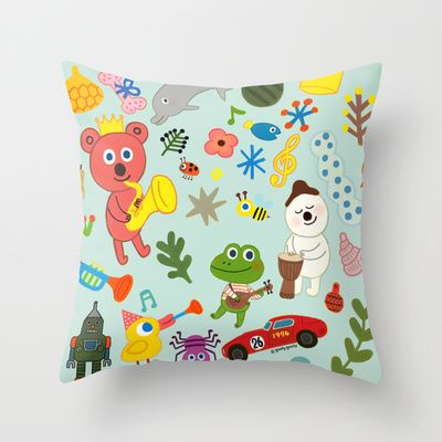 happy day Throw Pillow by goolygooly - $20.00