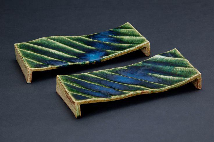 織部鎬長方皿 Rectangular dish with engraved, Oribe type 2012