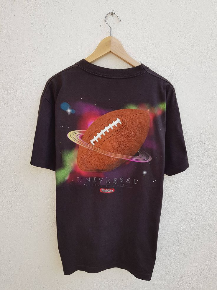 Vintage 90s UNIVERSAL Football is Life Planet NFL Big Graphic Sportswear Inspire Rugby T-Shirt Size L by BubaGumpBudu on Etsy