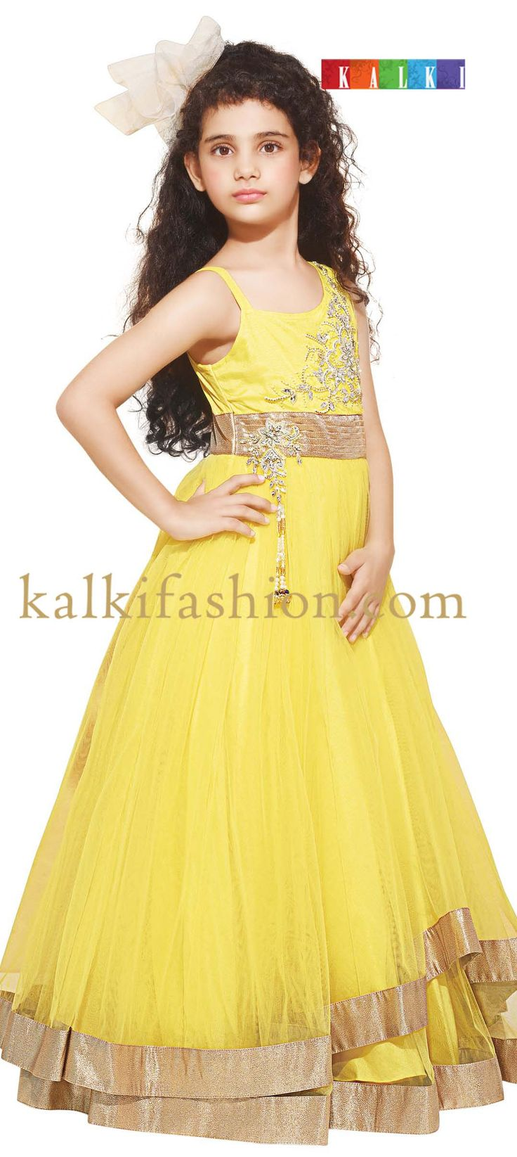 Buy it now  http://www.kalkifashion.com/yellow-gown-with-double-frills.html  Yellow gown with double frills