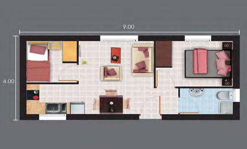 Planos de casas de drywall 27m2 a 36m2 mini casa for Departamentos pequenos planos