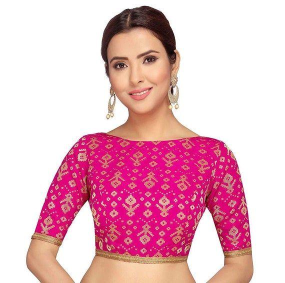 Pink Art Silk Blouse New Indian Designer Readymade Blouse For Women Wedding,Party Wear Saree Choli Top Tunic Sari Blouse