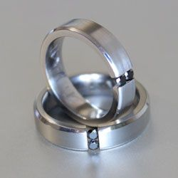titanium and black diamond ring - his and hers
