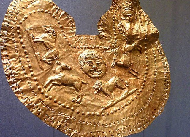 Thracian gold breastplate with mythological scenes found in 2001 in a burial mound near the village of Chernozem, Municipality Kaloyanovo V c. BC