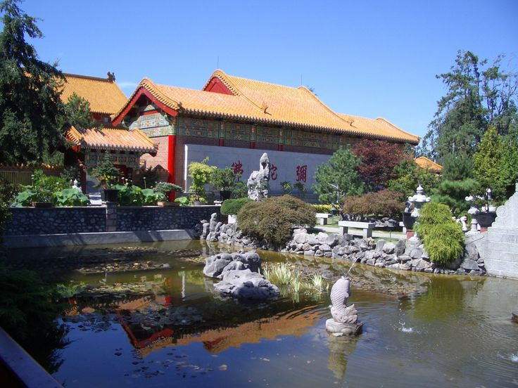 View from the garden gazebo of the International Buddhist Society Temple