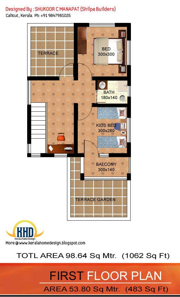 02 Storied Small Plot Cute 3 Bedroom Kerala Home Plan With 1062 Sq Ft Free Kerala Home Plans Kerala House Design Low Budget House Budget House Plans