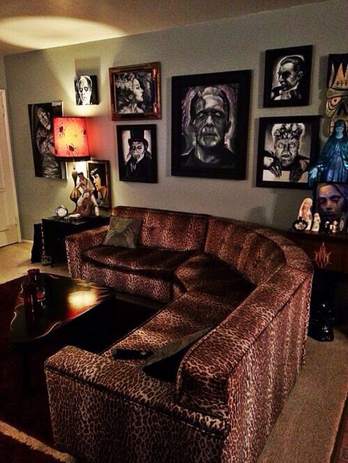 Goth living room decor.... not too sure about the leopard print, every thing else i would have