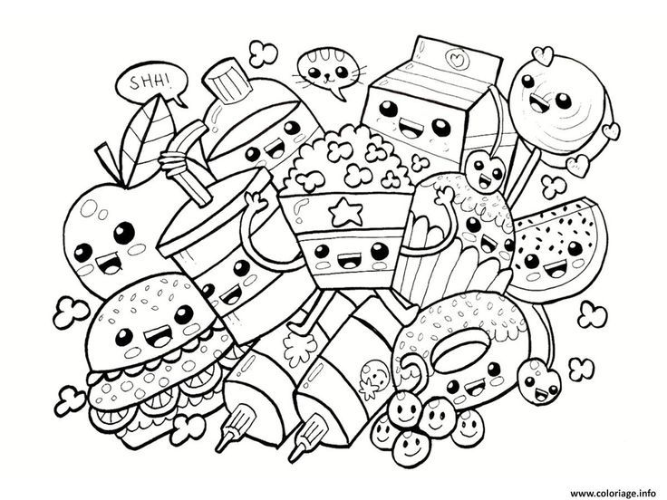 Coloring Page Kawaii Food Drawing Coloriage Kawaii Coloriage
