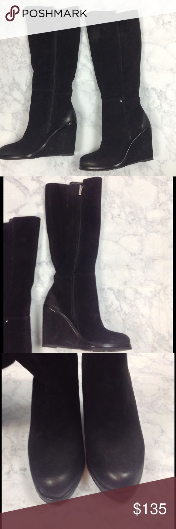 "Vince Camuto Justine Knee High Wedge Boots- NWT Brand new black suede wedge knee high boots. Full length zip closure with elastic on calf area for extra comfort.  Rounded toe. Padded insole. Heel height: 4"" Shaft height: 17.5"". Circumference: 15.5"". Size: 8.5. Original box not available. No trades Vince Camuto Shoes Heeled Boots"