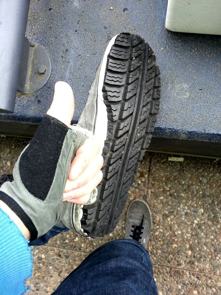 I resoled my shoes with an old tire. - Imgur Gotta try this with boots some time.