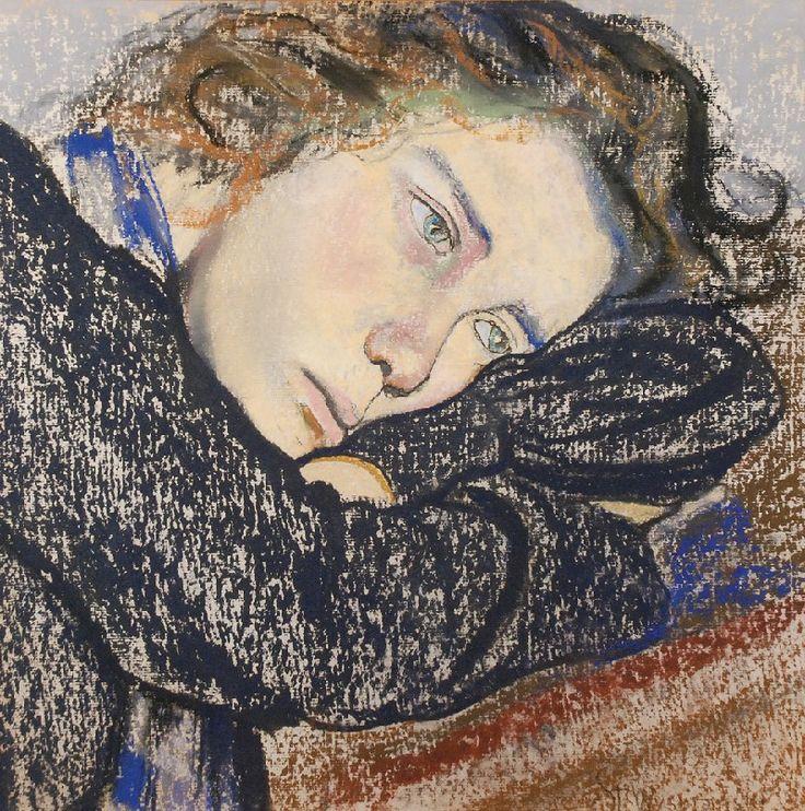 """Stanisław WYSPIAŃSKI (Polish, 1869-1907) - """"Studium kobiety (Study of a Woman)"""", 1902. Pastel on ribbed paper."""