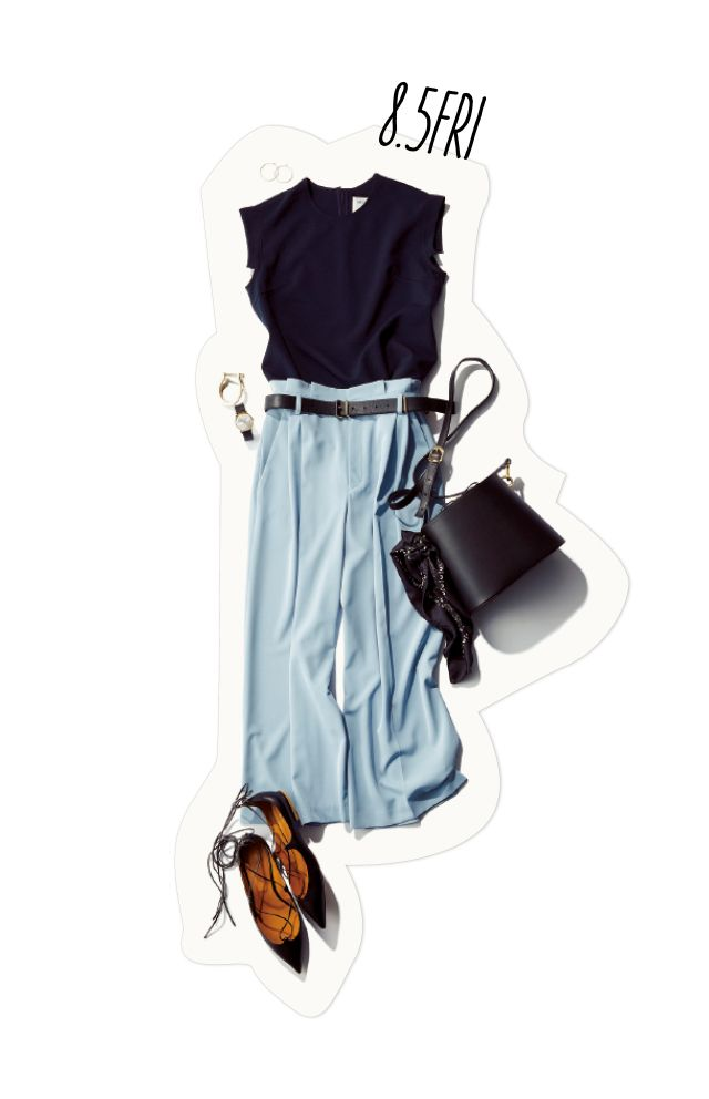 blue wide leg chinos, black top, flat wraps, black purse