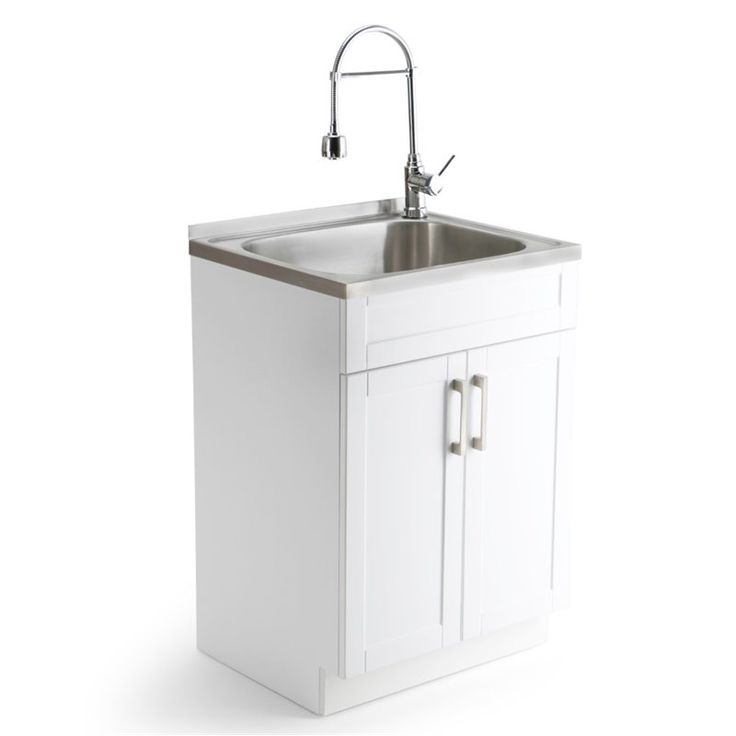 """Lowest price online on all Simpli Home Hennessy 24"""" Laundry Vanity Set in White - AXCLDYSS-24"""