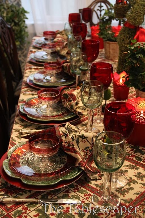 Kings Crown Thumbprint with Ruby Flashing for a rich holiday table.  What a lovely setting! ~ Mary Walds Place -  Ladies Christmas Luncheon0120