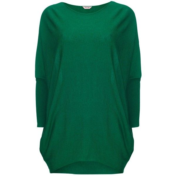 Phase Eight Becca Batwing Jumper, Green (365 RON) ❤ liked on Polyvore featuring tops, sweaters, long sleeve jumper, long tops, batwing tops, green top and oversized jumper