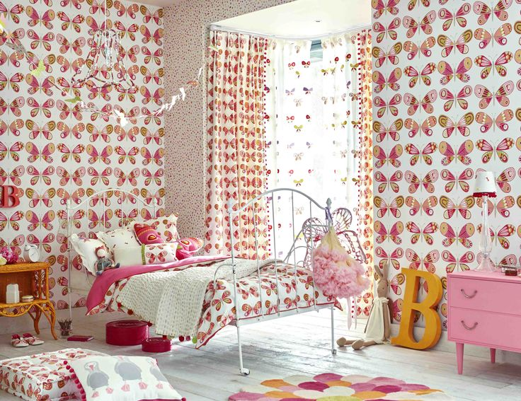 'Madame Butterfly' is ideal for a girly girls bedroom! We love the introduction of orange and pistachio to this pretty pink room. From Scion's 'Guess Who' collection.