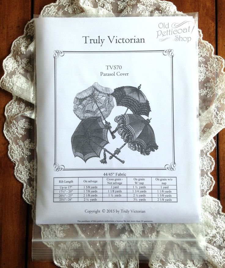 Truly Victorian TV570 Parasol Cover Pattern – Old Petticoat Shop