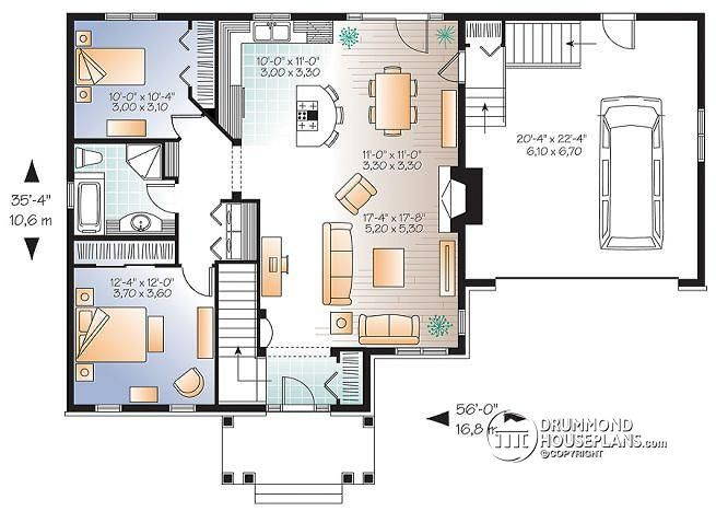 1st level Craftsman bungalow, open living concept, two car garage, fireplace in family room, unfinished basement - Newburg 2
