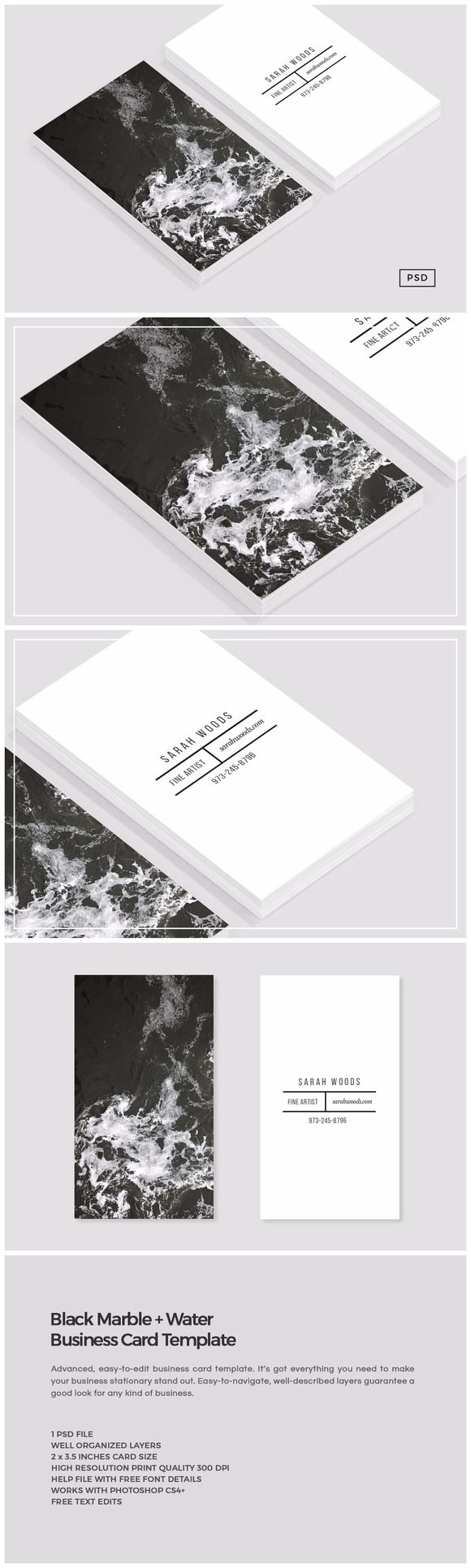 Black Marble Business Card Template By Design Co On Creativemarket