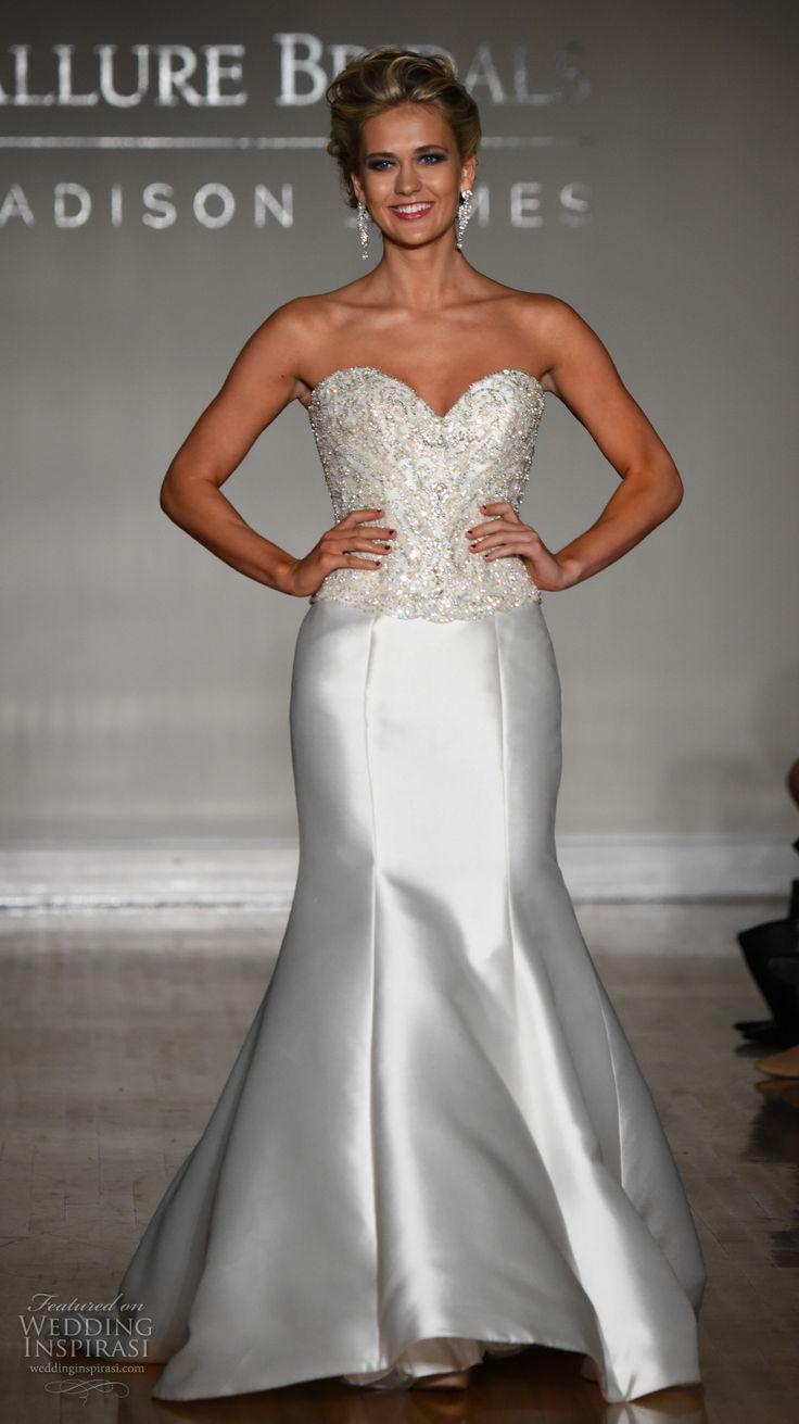 allure bridal maddison james f2017 strapless sweetheart neckline heavily embellished bodice satin skirt trumpet wedding dress sweep train (026) mv