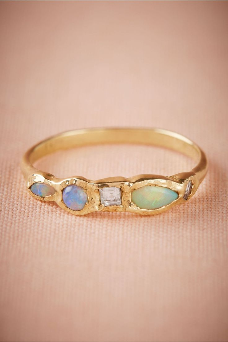 opals and aquamarine | Journey Treasure Mermaid Ring from BHLDN