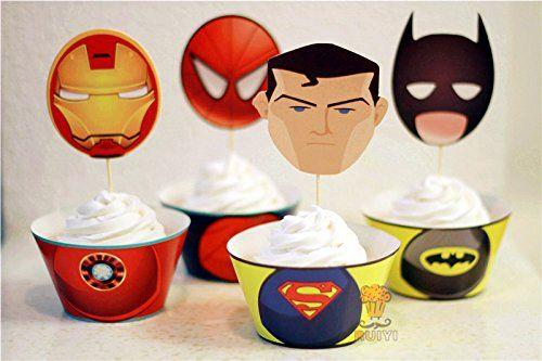 96pcs the Avengers Superman Batman Iron Man Cupcake Wrappers&toppers Picks Decoration Kids Birthday  @ niftywarehouse.com #NiftyWarehouse #IronMan #Iron-man #Marvel #Avengers #TheAvengers #ComicBooks #Movies