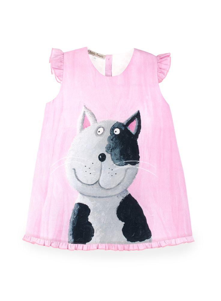 """BINKI Платье """"Серый Кот"""" с Дизайном Кистью из Хлопка #binkiru #детскаяодежда #магазиндетскойодежды"""