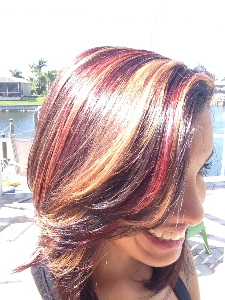 Dark Brown Hair With Caramel And Red Highlights 7000 Hair Highlights