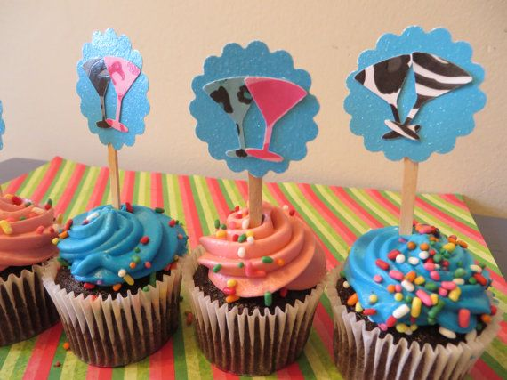 Martini Party Picks   Party Pick Cupcake Toppers  by PartyPower, $4.99