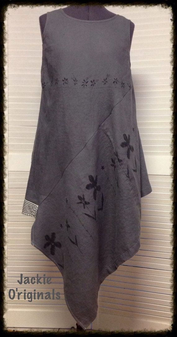 Dark grey linen upcycled long tunic with by jackieoriginal1