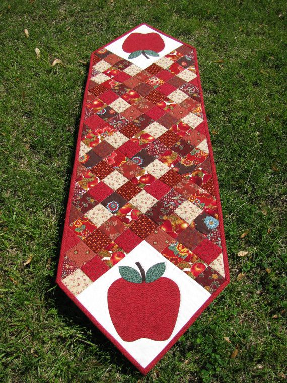 Apple Patchwork Quilted Table Runner