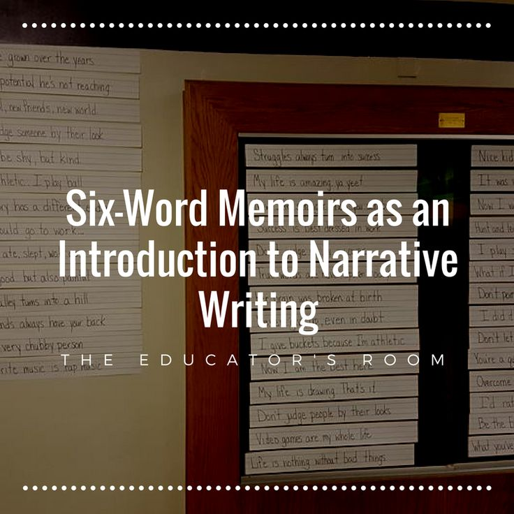 Six-word memoirs are not a new thing. A simple Google search will bring up Smith magazine and their six-word memoir site that all began in 2006.  If you search Pinterest, you'll find dozens of ways to use six-word memoirs with kids of all ages. That is all I did to piece together something that I