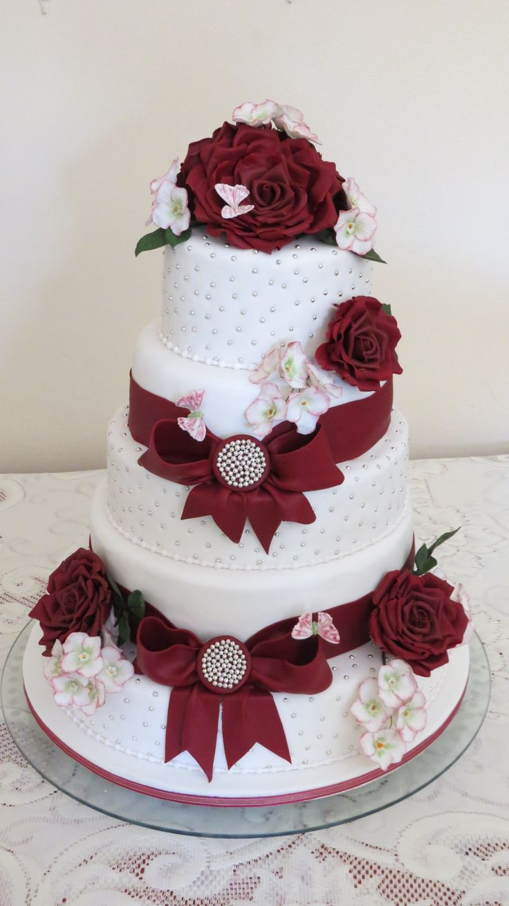 Burgundy Rose Wedding Cake Created By Memorable Occasions