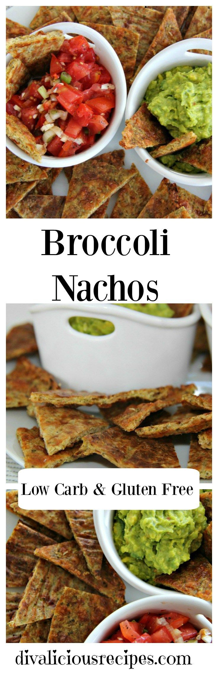 Healthy low carb and gluten free nachos made with broccoli. Crispy, cheesey and perfect served along with a tasty dip.