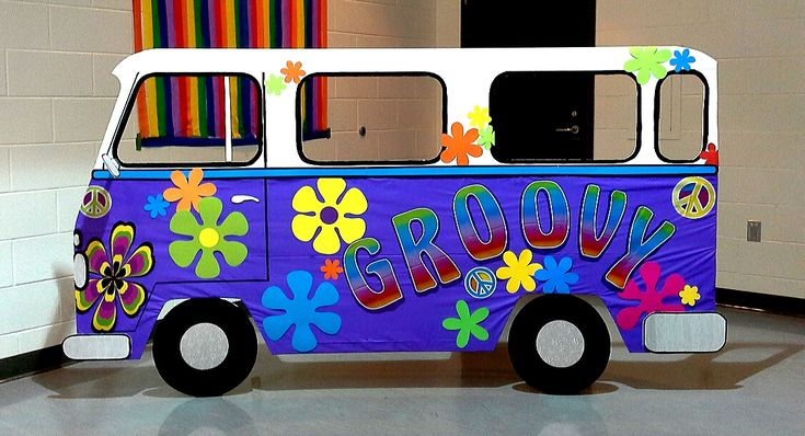 groovy hippie van prop (4.5'x7.5') for Irene's hippie themed birthday, Nov 1, 2014, Mississauga, ON; design by Davis Floral Creations