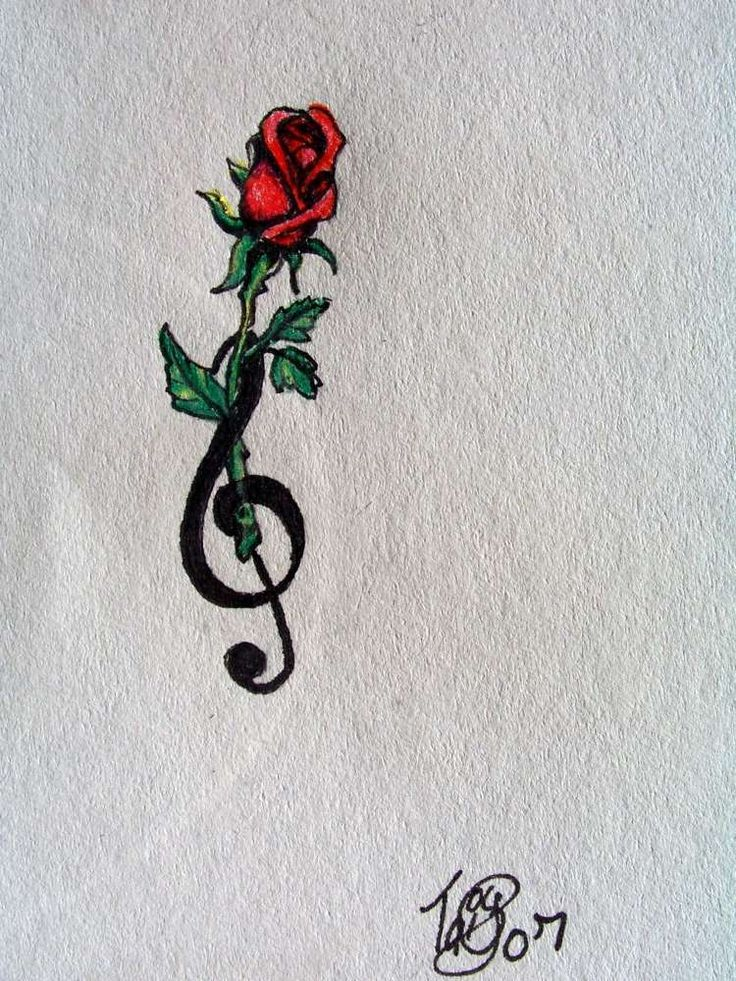 ... Tattoo Music Note And Rose Tattoo Red Rose Treble Clef Rose Tattoo