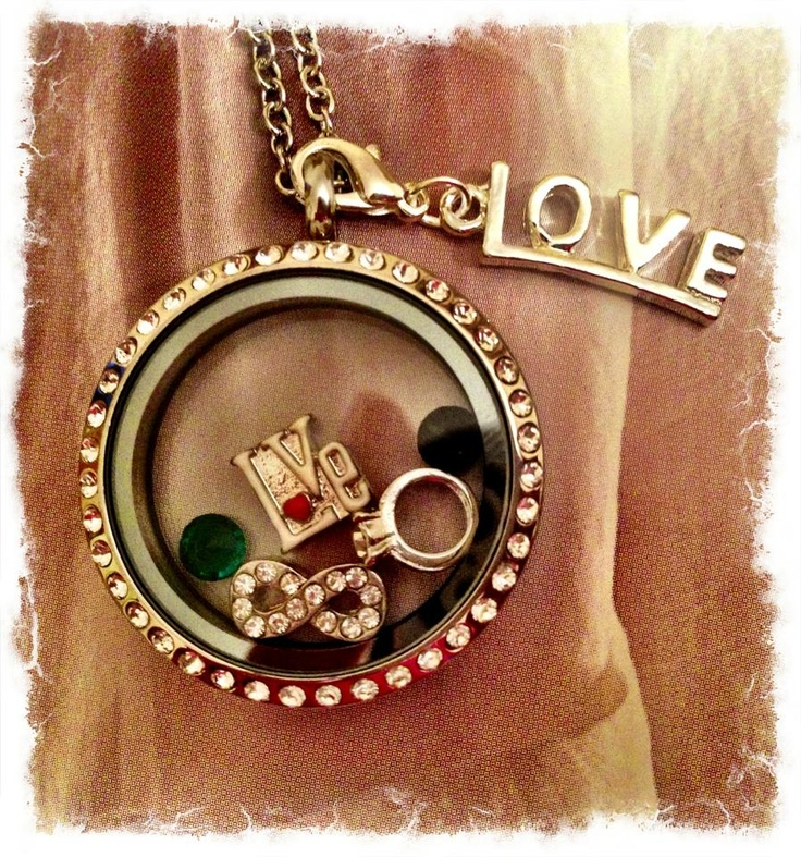 shdcharmed@yahoo.com  Amy Jo Hiort South Hill designs Independent Artist #3843  South Hill Designs locket with love charm, ring, eternity symbol, birthstone crystals and love droplet