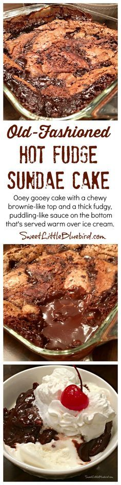 OLD-FASHIONED HOT FUDGE SUNDAE CAKE - Ooey gooey chocolate cake with a chewy brownie-like top and a thick fudgy, puddling-like sauce on the bottom that's served warm over ice cream. Down home yummy goodness that's so simple to make. |  SweetLittleBluebird.com