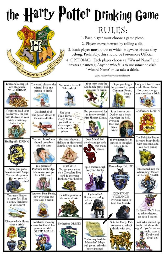 Harry Potter Drinking Game With Board