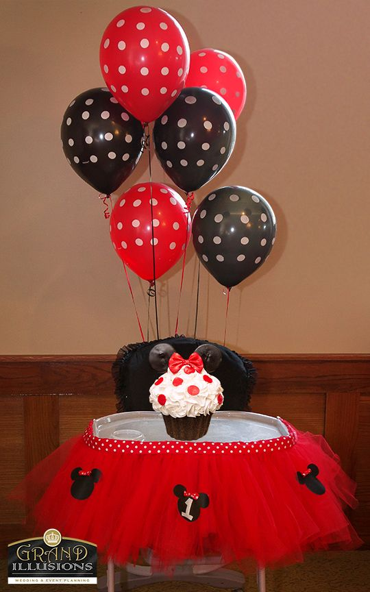 Custom made red high chair tutu.  Smash cake provided by Nom Nom's Cupcake Factory of Westland, MI www.queennomnoms.com