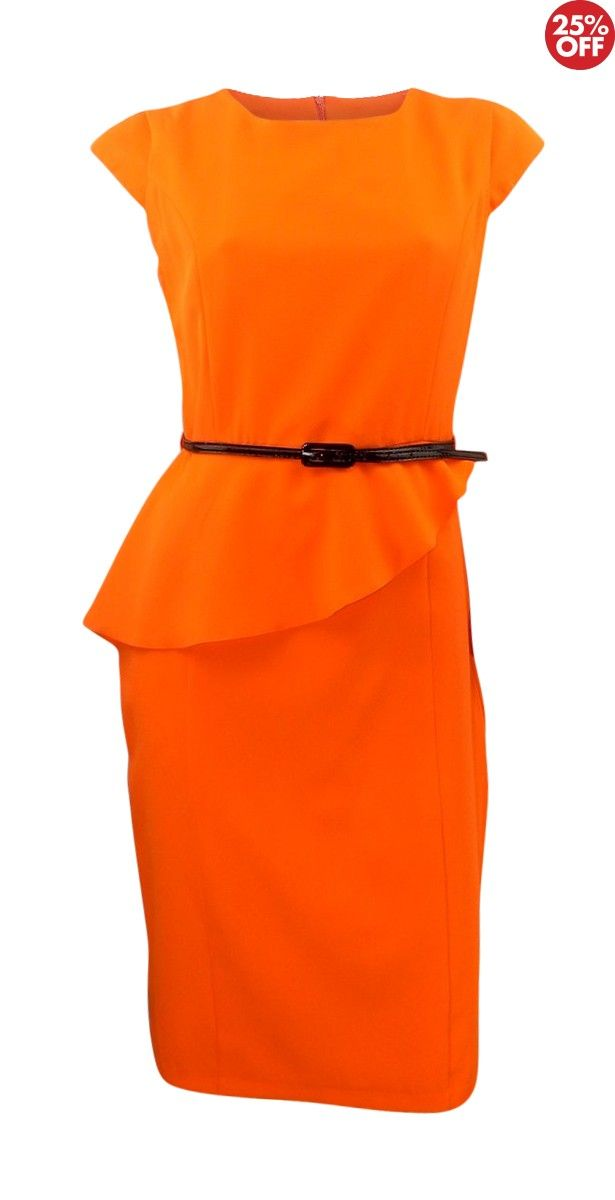 Debenhams Collection Bright Orange Shift Dress with Deep Frill at Front - Debenhams Collection Bright Orange Shift Dress with Deep Frill at Front  Fabric: polyester Colour: orange Dress type: shift dress Neckline: round neckline Sleeves: cap sleeve Pattern: no pattern  Occasion: formal, work, party Length: 40 inches, knee length Fastening: invisible back zip Lined  Debenhams bright orange lightweight shift dress with narrow black shiny belt. Cap sleeved with deep frill at front waist which…