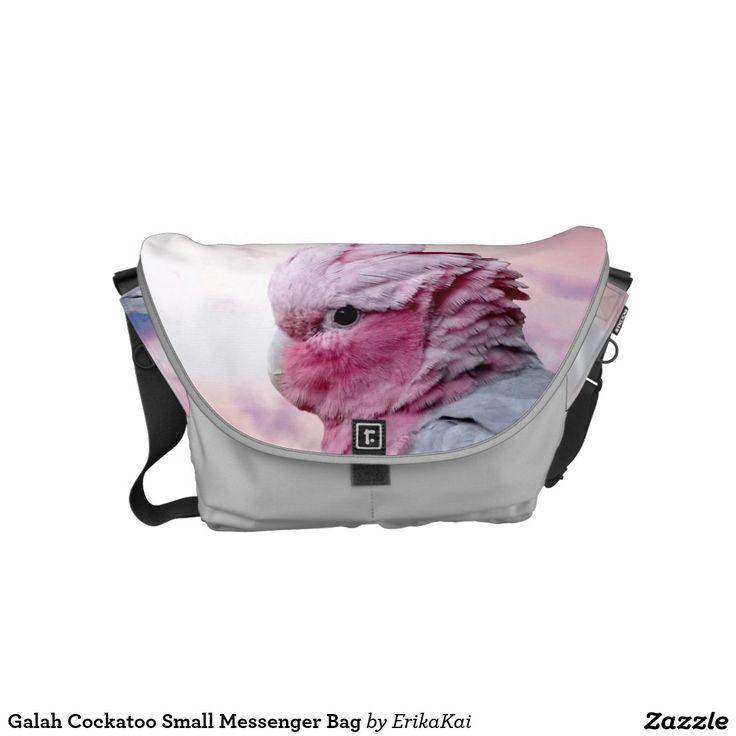 Pink Birds Galah Cockatoo Small Rickshaw Messenger Bag. Water resistant, extra durable. Interior and binding 20 color options.